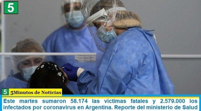 Este martes sumaron 58.174 las víctimas fatales y 2.579.000 los infectados por coronavirus en Argentina. Reporte del ministerio de Salud