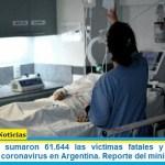 Este domingo sumaron 61.644 las víctimas fatales y 2.860.884 los infectados por coronavirus en Argentina. Reporte del ministerio de Salud