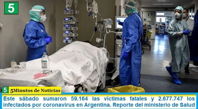 Este sábado sumaron 59.164 las víctimas fatales y 2.677.747 los infectados por coronavirus en Argentina. Reporte del ministerio de Salud