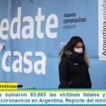Este miércoles sumaron 65.865 las víctimas fatales y 3.071.496 los infectados por coronavirus en Argentina. Reporte del ministerio de Salud