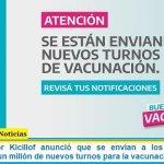 El Gobernador Kicillof anunció que se envían a los 135 distritos bonaerenses un millón de nuevos turnos para la vacunación