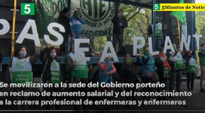 Los trabajadores de la salud protestaron contra Larreta y se movilizaron a la sede del Gobierno porteño por aumento salarial