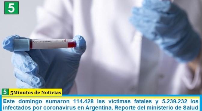 Este domingo sumaron 114.428 las víctimas fatales y 5.239.232 los infectados por coronavirus en Argentina. Reporte del ministerio de Salud