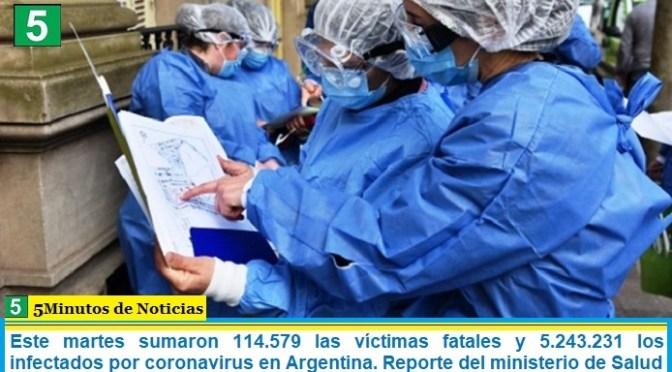 Este martes sumaron 114.579 las víctimas fatales y 5.243.231 los infectados por coronavirus en Argentina. Reporte del ministerio de Salud