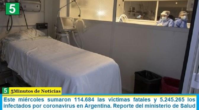 Este miércoles sumaron 114.684 las víctimas fatales y 5.245.265 los infectados por coronavirus en Argentina. Reporte del ministerio de Salud