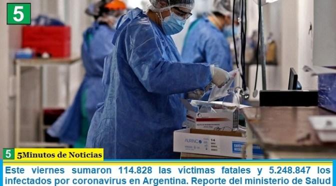 Este viernes sumaron 114.828 las víctimas fatales y 5.248.847 los infectados por coronavirus en Argentina. Reporte del ministerio de Salud