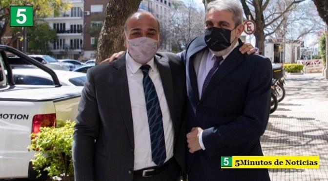 Juan Manzur visitó la sede del Ministerio de Seguridad y se reunió con Aníbal Fernández