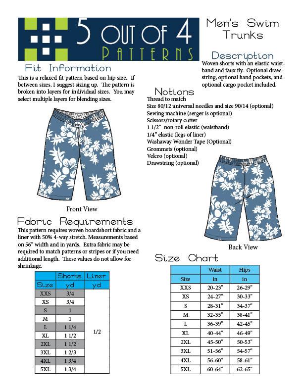 Mens Shorts Sewing Pattern : shorts, sewing, pattern, Men's, Trunks-PDF, Sewing, Pattern