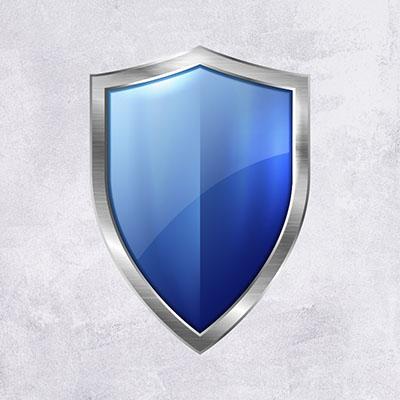 Синий щит на сером фоне