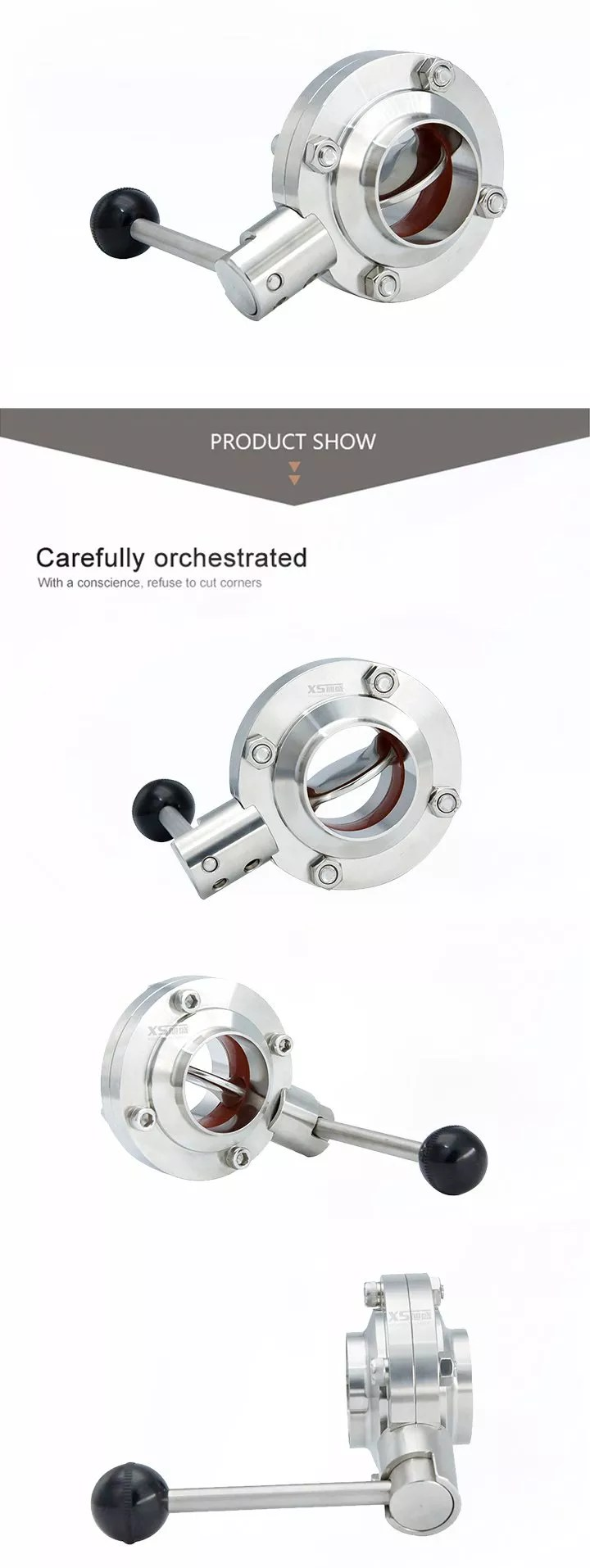 Stainless Steel SUS304 Food Grade SMS Welding Butterfly Valve
