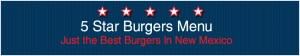 5 star burgers menu