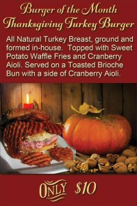 Thanksgiving Turkey Burger only at Five Star Burgers