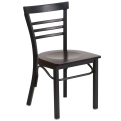 Metal Restaurant Chairs Black Elastic Chair Covers New Ladder Back Walnut Wood Seat Lot Of 10