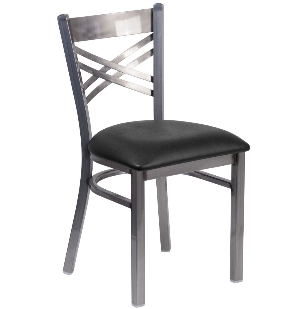 metal restaurant chairs dining chair covers with arms new x back clear coated black vinyl seat