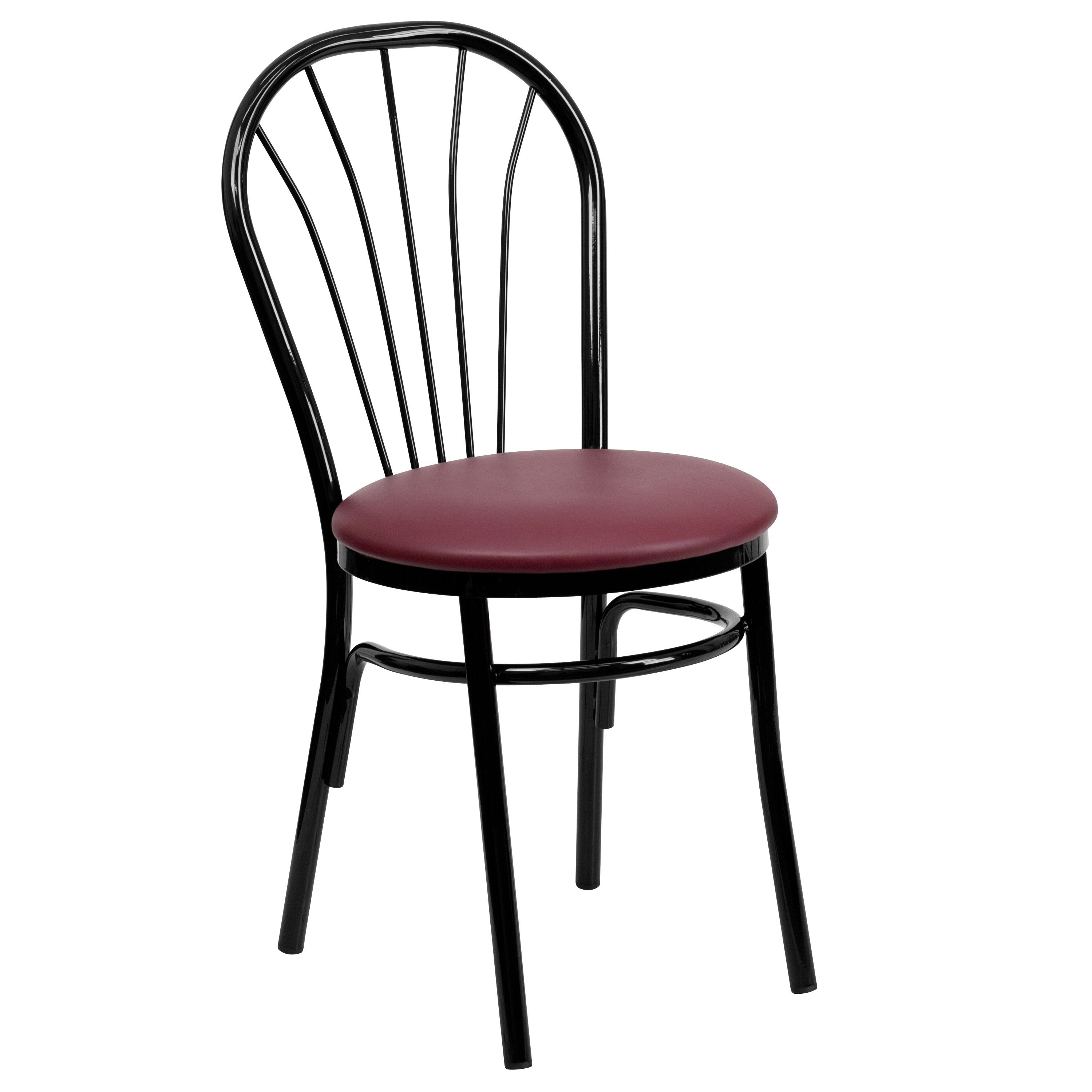 metal restaurant chairs electric chair execution videos new fan back burgundy vinyl seat lot of 10 home furniture seating