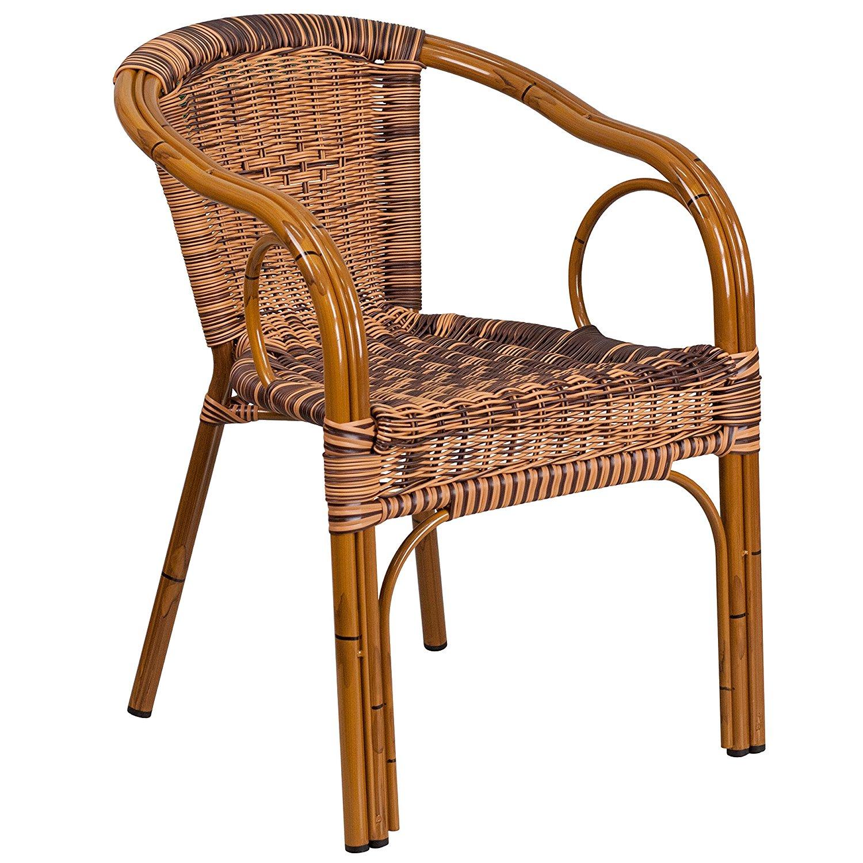 bamboo outdoor chairs aqua blue plastic adirondack new restaurant patio chair with dark burning brown rattan