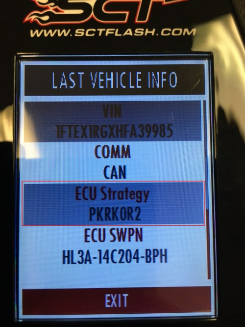 small resolution of if using an sct or bully dog device on your device under vehicle information you will find your ecu strategy code an example of an ecu strategy code is