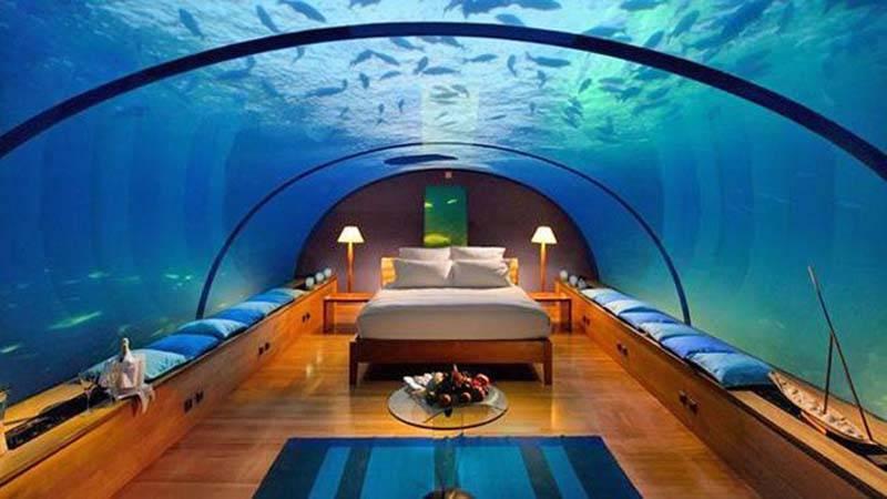 The Manta Resort's underwater hotel room