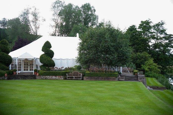 The wedding Marquee in the grounds of Le Talbooth