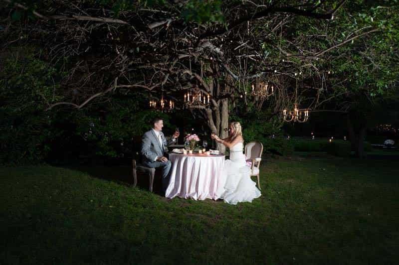 Bride and Groom romantic dinner