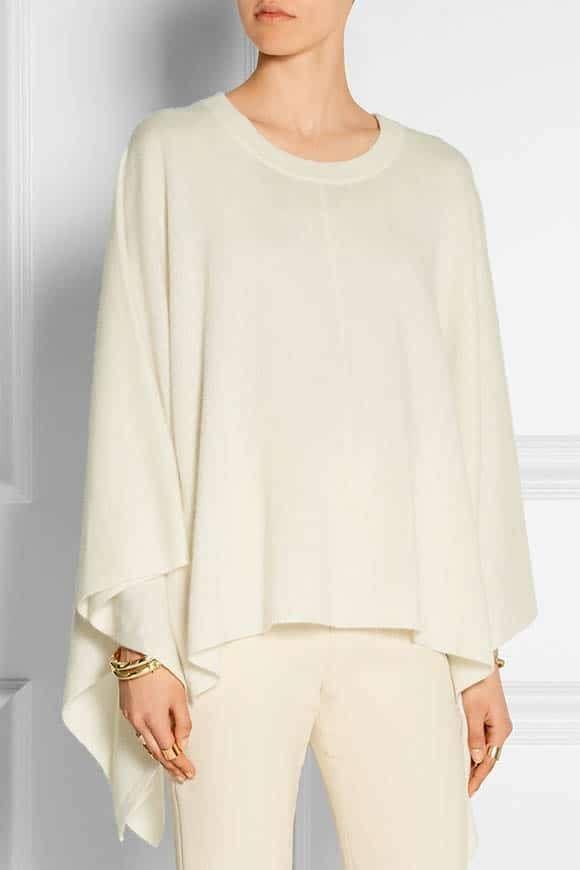Luxurious cream cashmere poncho from Madeleine Thompson