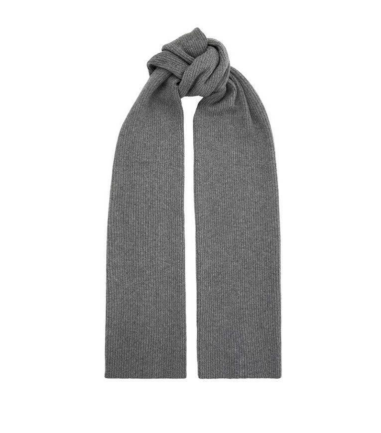 Helmut Lang grey cashmere ribbed scarf