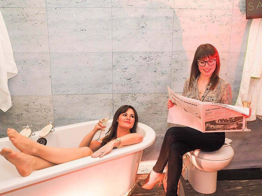 The bathroom At Home with Bruce Russell at The Savoy