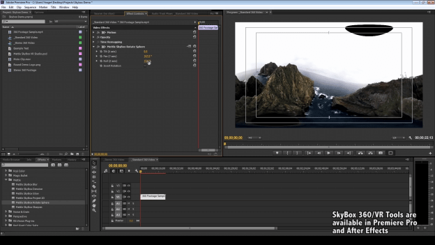 Skybox 360/VR Tools by Mettle, shown inside Adobe Premiere Pro.