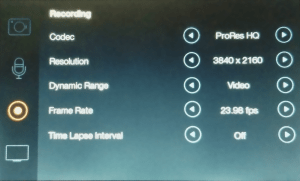 Blackmagic Cinema Camera Recording Settings