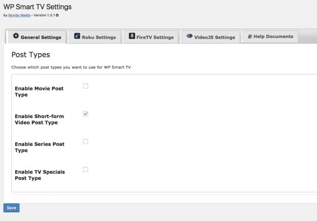 wp smart tv general settings