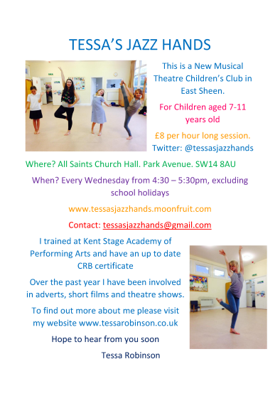Tessa's Jazz Hands Children's Musical Theatre in East Sheen