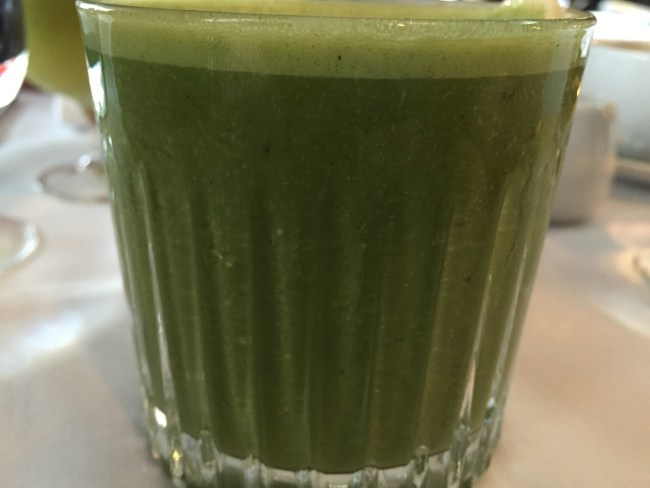 Power House; spinach, banana, almond butter, coconut water, almond milk
