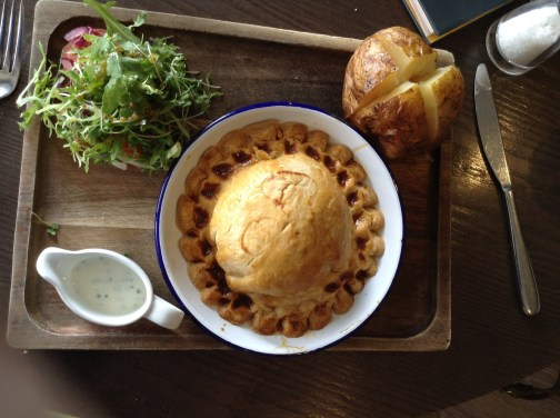 Cheese & Onion Pie, With A Sour Cream Jacket Potato