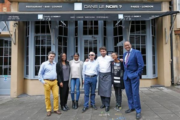 Photocall ahead of Gastronomic dinner for homeless youngsters at Dans le Noir? with Shahrar Ali Green Party (Tall Blue Suit), Edouard de Broglie (Founder) Roberto Rebecchi (Blind waiter dark glasses), Chef Julien Machet (grey Apron),Tia Forbes (glasses), Zinaida da Costa (White jumper) residents of Centrepoint.COPYRIGHT PICTURE: NIGEL HOWARD©email: nigelhowardmedia@gmail.comPICTURES ARE FREE TO USE/Contact Luxe PR 07949 836469/020 7368 3330 Roxii Hoare-Smith