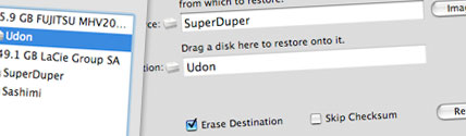 restore with disk utility