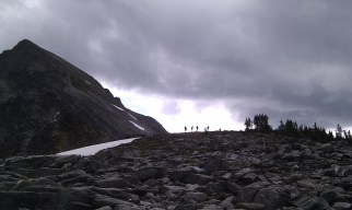 Monday: well over 7,000 feet up Cheops (8,546 ft./2,605 m) in Rogers Pass after a long approach hike all the way around the mountain and up its rear ridge - with only the summit pyramid left to be scaled - a wicked thunderstorm rolls in over us and we are forced to retreat back down the mountain.