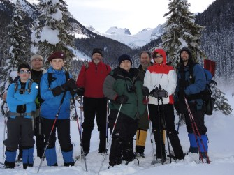 The whole team ready to snowshoe up into the mountains on Saturday. The goal was the lake directly below the glacier seen in the far center of this photo - a 5 km. hike with a 1,200 ft. elevation gain (mostly in the final 2 kms.). Three members turned around at about the 1/4 mark. Before they returned to base, we had a little avalanche discussion on an open 32 degree snowfield. The members that carried on had the right mountain climbing snowshoes to get themselves up some fairly steep slopes (and, more importantly, to be able walk straight down those slopes without sustaining a serious fall). From left to right: Mountaineer Scout Tavish, Scouter Jason, Mountaineer Scout Simon, Scouters Charles and Jamie, Event Leader Tim Driscoll and Scouters Suzey and Dennis.