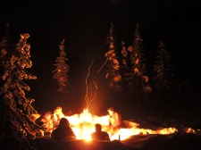 Another fantastic campfire with good company under a starry mountain sky.