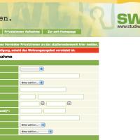 Screenshot vom Online-Formular, über das freie Wohnungen und Zimmer gemietet werden können - 5VIER