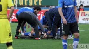 20120328 Eintracht Trier - Dortmund II, Regionalliga West, Verletzung Drescher, Foto: Anna Lena Grasmueck - 5VIER