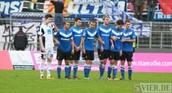 20131012 SSV Ulm - Eintracht Trier, Regionalliga Suedwest, Abwehr, Mauer: Brighache, Spang, FAZ, Buchner, Hollmann, Zittlau, Foto:www.5vier.de - 5VIER