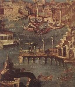 Das römische Fresko aus Stabiae zeigt wahrscheinlich den Hafen von Puteoli im Golf von Neapel, abgebildet in Panetta, Marisa Ranieri (Hg.): Pompeji. Geschichte, Kunst und Leben in der versunkenen Stadt, Stuttgart 2005. Foto: Universität Trier - 5VIER