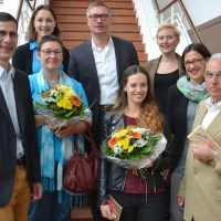 V.l.: Georg Stephanus (CIT), Jennifer Schaefer (CIT), Bettina Berens, Gerd Guillaume (CIT), Livia Brück, Anne Kurtze und Mechthild Neyses-Eiden (Rhein. Landesmuseum), Erich Bohr, Foto: Agenturhaus - 5VIER