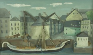 Vitus Föhr, Verladeszene (Kaine am Kranen), Gipsrelief, 1928. © Stadtmuseum Simeonstift Trier - 5VIER