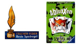 Das Logo des Preises Essener Feder und die Schachtel von Abluxxen.