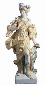 Abbildung: Ferdinand Tietz, Minerva aus dem Skulpturenzyklus für das Kurfürstliche Palais, Sandstein, um 1760. © Stadtmuseum Simeonstift Trier.