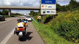 Motorradeinsatz der DRK Contwig auf Autobahn - 5VIER