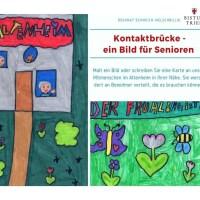 Kinder malen und schreiben für Bewohner in Altenheimen