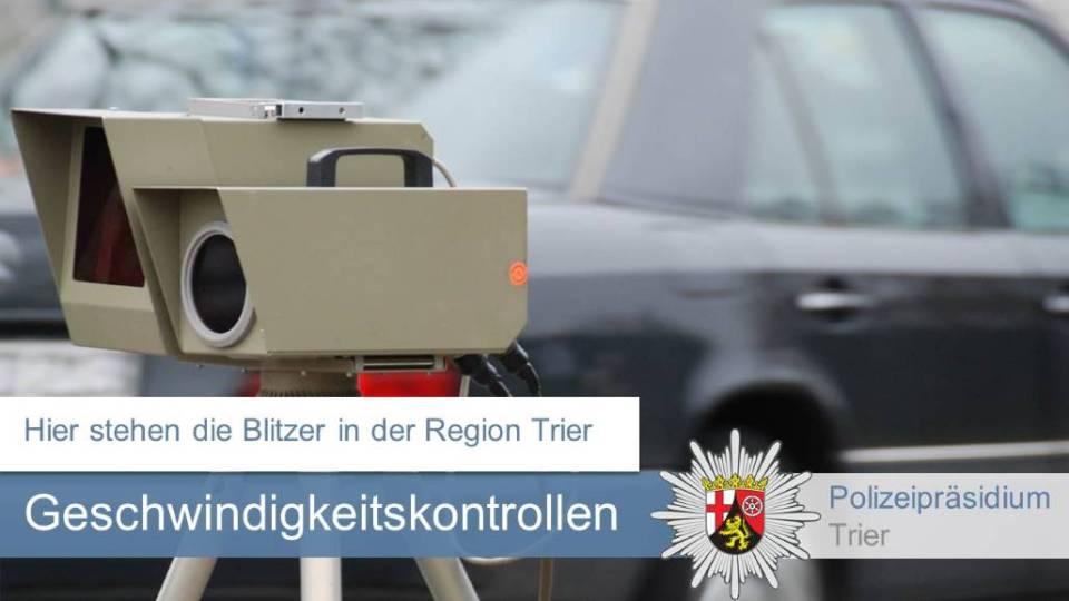 Die angekündigten Geschwindigkeitsmessungen im Bereich des Polizeipräsidiums Trier für die 45. Kalenderwoche
