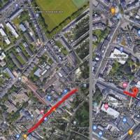 Die gesperrten Straßen: Kloschinskystraße (oben links), Paulinstraße (Mitte) und Dietrichstraße (rechts) Foto: Google Maps